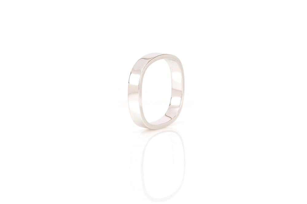 Alliance carrée OBÉ, Or Blanc 18 carats 1